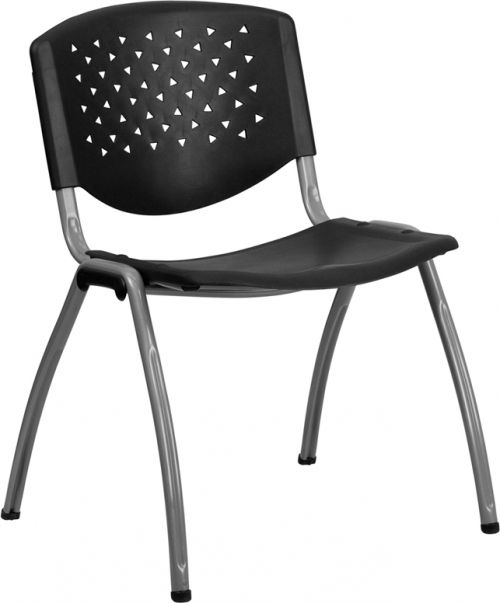 Flash Furniture HERCULES Series 880 lb. Capacity Black Polypropylene Stack Chair with Titanium Frame Finish [RUT-F01A-BK-GG]