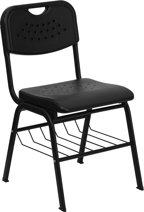 Flash Furniture HERCULES Series 880 lb. Capacity Black Plastic Chair with Black Powder Coated Frame and Book Basket [RUT-GK01-BK-BAS-GG]