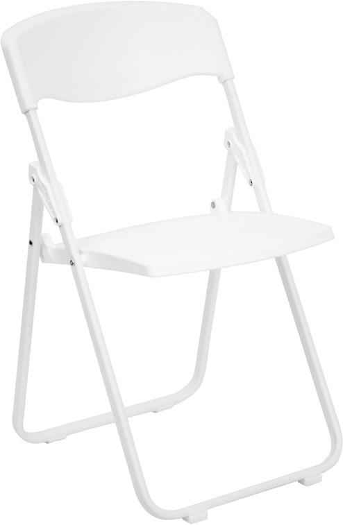 Flash Furniture HERCULES Series 880 lb. Capacity Heavy Duty White Plastic Folding Chair [RUT-I-WHITE-GG]