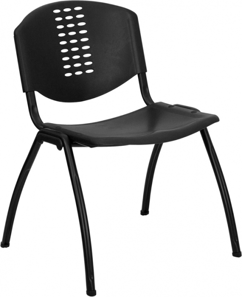 Flash Furniture HERCULES Series 880 lb. Capacity Black Polypropylene Stack Chair with Black Frame Finish [RUT-NF01A-BK-GG]