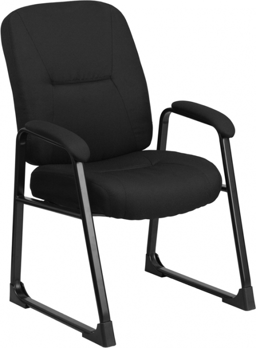 Flash Furniture HERCULES Series Big & Tall 400 lb. Capacity Flash Furniture Black Fabric Executive Side Chair with Sled Base [WL-738AV-BK-GG]