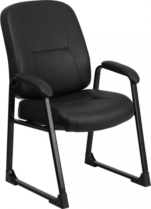 Flash Furniture HERCULES Series Big & Tall 400 lb. Capacity Flash Furniture Black Leather Executive Side Chair with Sled Base [WL-738AV-LEA-GG]