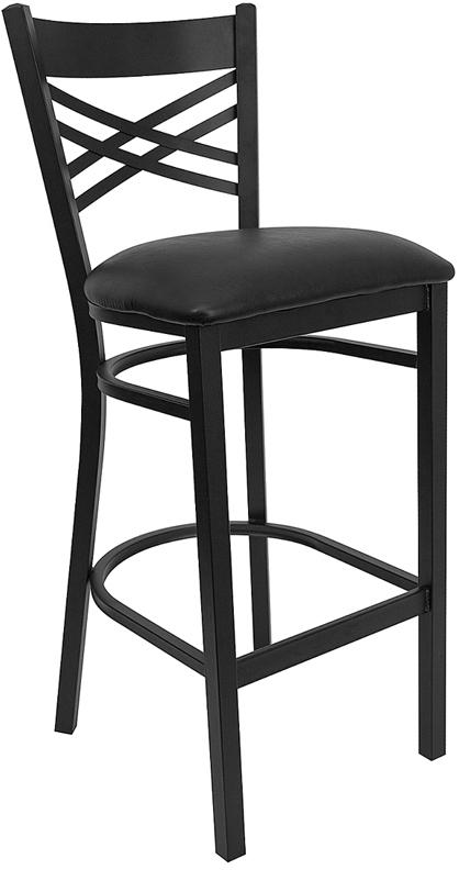 Flash Furniture HERCULES Series Black ''X'' Back Metal Restaurant Bar Stool with Black Vinyl Seat [XU-6F8BXBK-BAR-BLKV-GG]
