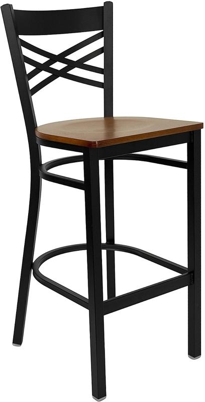Flash Furniture HERCULES Series Black ''X'' Back Metal Restaurant Bar Stool with Cherry Wood Seat [XU-6F8BXBK-BAR-CHYW-GG]