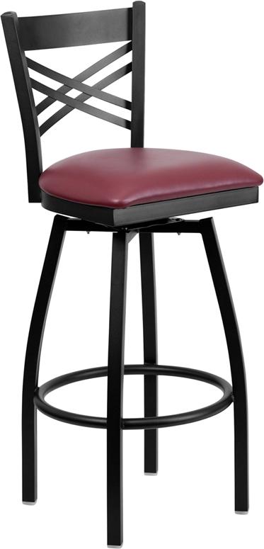 Flash Furniture HERCULES Series Black ''X'' Back Swivel Metal Bar Stool - Burgundy Vinyl Seat [XU-6F8B-XSWVL-BURV-GG]