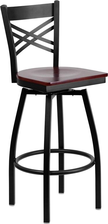 Flash Furniture HERCULES Series Black ''X'' Back Swivel Metal Bar Stool - Mahogany Wood Seat [XU-6F8B-XSWVL-MAHW-GG]