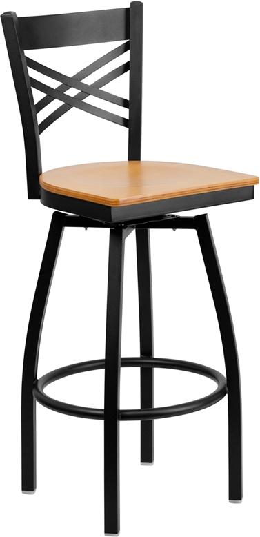 Flash Furniture HERCULES Series Black ''X'' Back Swivel Metal Bar Stool - Natural Wood Seat [XU-6F8B-XSWVL-NATW-GG]