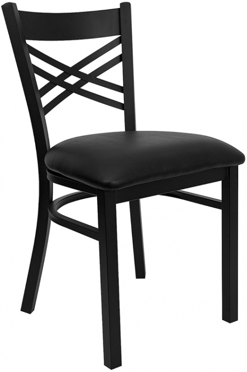 Flash Furniture HERCULES Series Black ''X'' Back Metal Restaurant Chair with Black Vinyl Seat [XU-6FOBXBK-BLKV-GG]