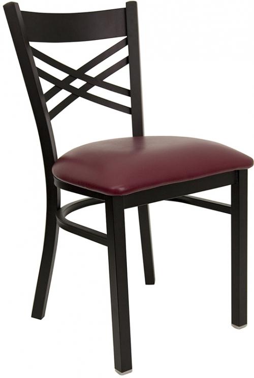 Flash Furniture HERCULES Series Black ''X'' Back Metal Restaurant Chair with Burgundy Vinyl Seat [XU-6FOBXBK-BURV-GG]