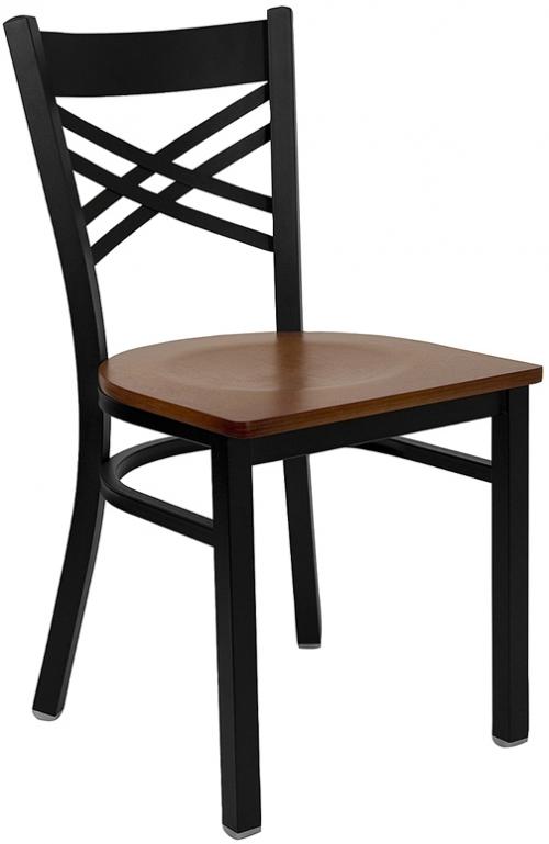 Flash Furniture HERCULES Series Black ''X'' Back Metal Restaurant Chair with Cherry Wood Seat [XU-6FOBXBK-CHYW-GG]