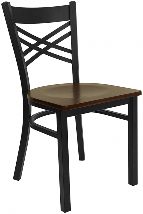 Flash Furniture HERCULES Series Black ''X'' Back Metal Restaurant Chair with Mahogany Wood Seat [XU-6FOBXBK-MAHW-GG]
