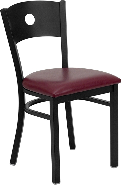 Flash Furniture HERCULES Series Black Circle Back Metal Restaurant Chair with Burgundy Vinyl Seat [XU-DG-60119-CIR-BURV-GG]