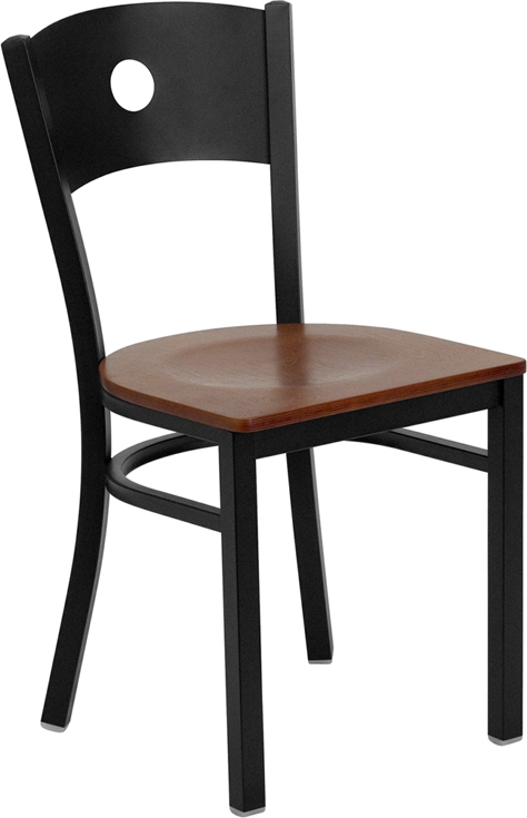 Flash Furniture HERCULES Series Black Circle Back Metal Restaurant Chair with Cherry Wood Seat [XU-DG-60119-CIR-CHYW-GG]