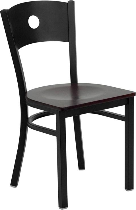 Flash Furniture HERCULES Series Black Circle Back Metal Restaurant Chair with Mahogany Wood Seat [XU-DG-60119-CIR-MAHW-GG]