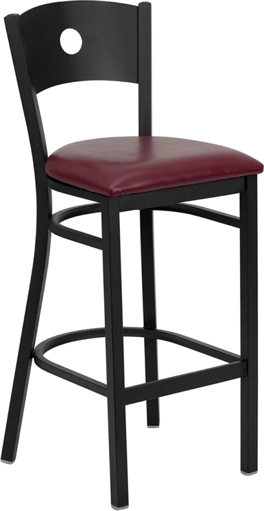 Flash Furniture HERCULES Series Black Circle Back Metal Restaurant Bar Stool with Burgundy Vinyl Seat [XU-DG-60120-CIR-BAR-BURV-GG]