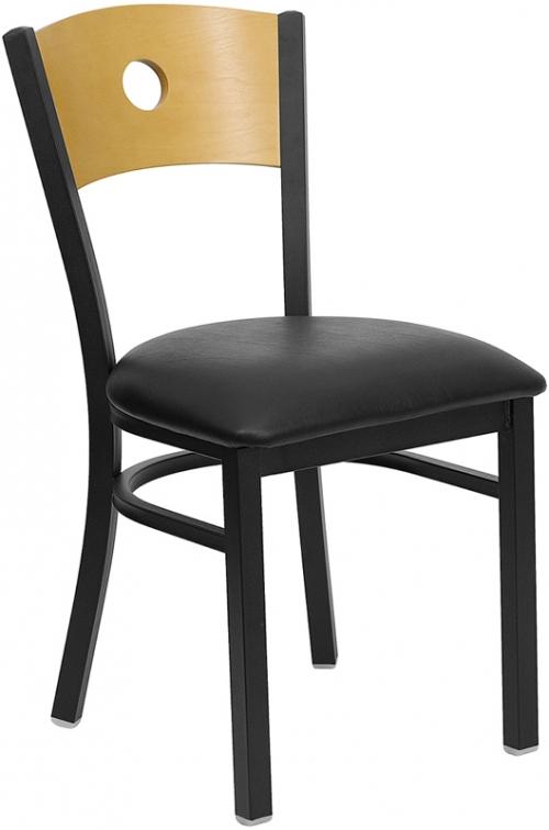 Flash Furniture HERCULES Series Black Circle Back Metal Restaurant Chair with Natural Wood Back & Black Vinyl Seat [XU-DG-6F2B-CIR-BLKV-GG]