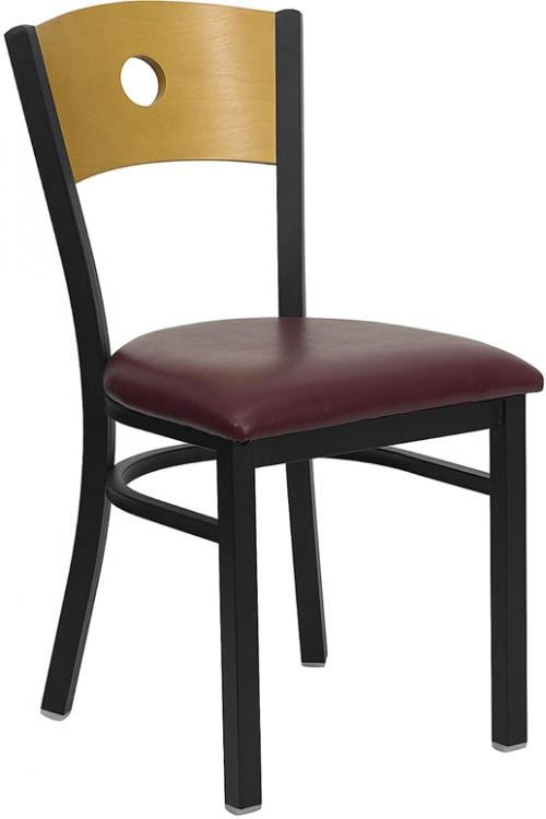 Flash Furniture HERCULES Series Black Circle Back Metal Restaurant Chair with Natural Wood Back & Burgundy Vinyl Seat [XU-DG-6F2B-CIR-BURV-GG]