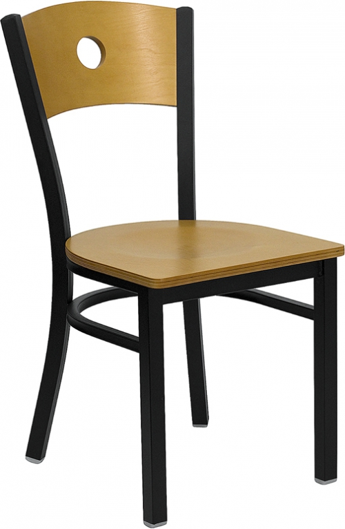 Flash Furniture HERCULES Series Black Circle Back Metal Restaurant Chair - Natural Wood Back & Seat [XU-DG-6F2B-CIR-NATW-GG]