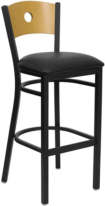 Flash Furniture HERCULES Series Black Circle Back Metal Restaurant Bar Stool with Natural Wood Back & Black Vinyl Seat [XU-DG-6F6B-CIR-BAR-BLKV-GG]