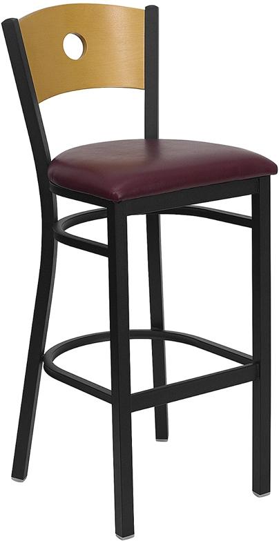 Flash Furniture HERCULES Series Black Circle Back Metal Restaurant Bar Stool with Natural Wood Back & Burgundy Vinyl Seat [XU-DG-6F6B-CIR-BAR-BURV-GG]