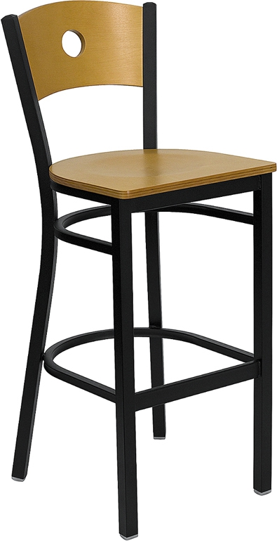 Flash Furniture HERCULES Series Black Circle Back Metal Restaurant Bar Stool with Natural Wood Back & Seat [XU-DG-6F6B-CIR-BAR-NATW-GG]