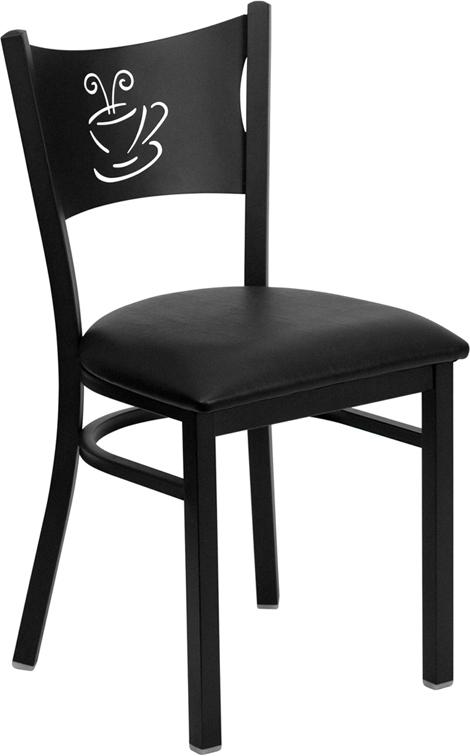 Flash Furniture HERCULES Series Black Coffee Back Metal Restaurant Chair with Black Vinyl Seat [XU-DG-60099-COF-BLKV-GG]
