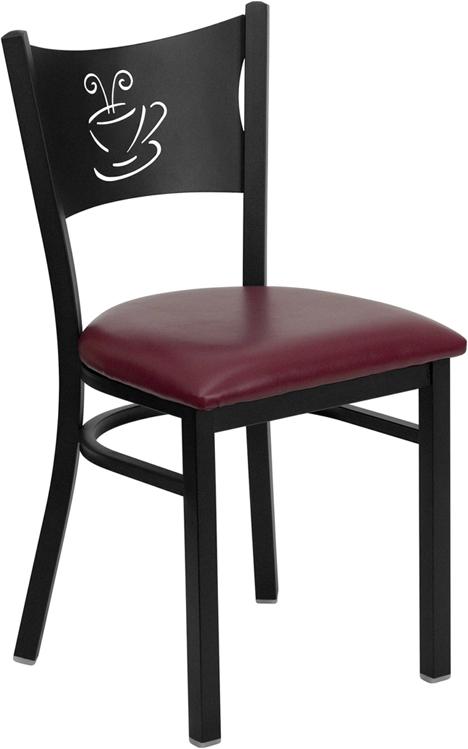 Flash Furniture HERCULES Series Black Coffee Back Metal Restaurant Chair with Burgundy Vinyl Seat [XU-DG-60099-COF-BURV-GG]