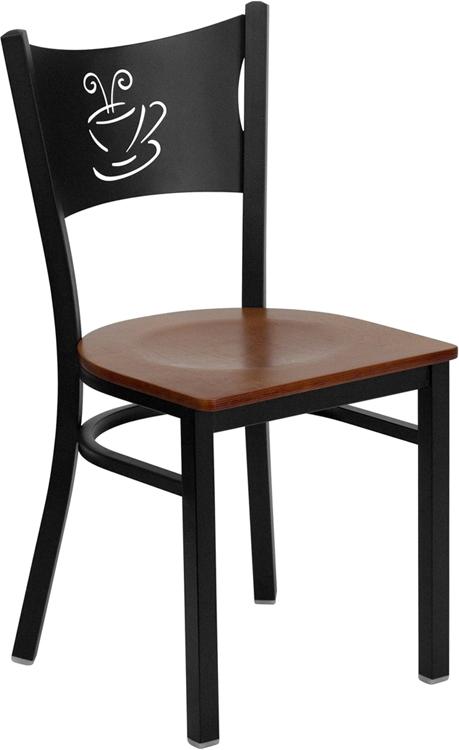 Flash Furniture HERCULES Series Black Coffee Back Metal Restaurant Chair with Cherry Wood Seat [XU-DG-60099-COF-CHYW-GG]