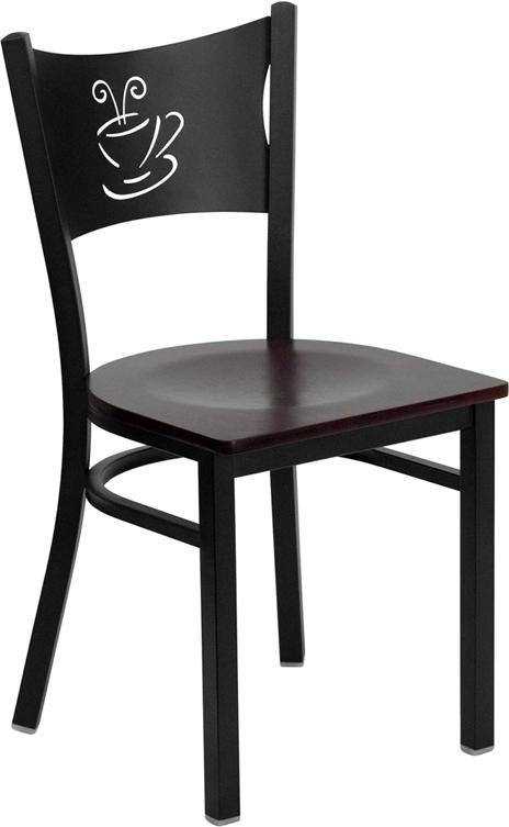 Flash Furniture HERCULES Series Black Coffee Back Metal Restaurant Chair with Mahogany Wood Seat [XU-DG-60099-COF-MAHW-GG]