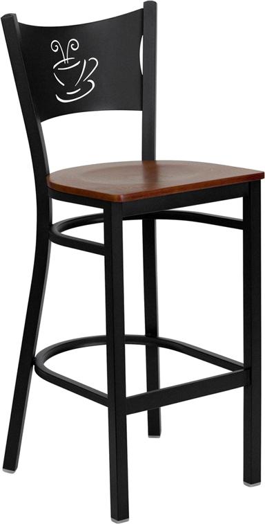 Flash Furniture HERCULES Series Black Coffee Back Metal Restaurant Bar Stool with Cherry Wood Seat [XU-DG-60114-COF-BAR-CHYW-GG]