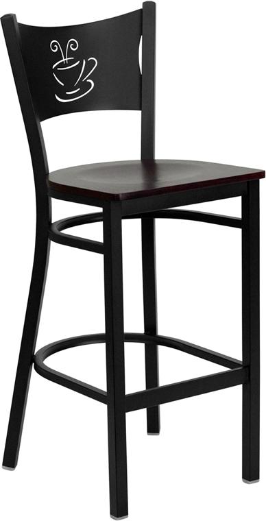 Flash Furniture HERCULES Series Black Coffee Back Metal Restaurant Bar Stool with Mahogany Wood Seat [XU-DG-60114-COF-BAR-MAHW-GG]