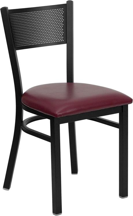 Flash Furniture HERCULES Series Black Grid Back Metal Restaurant Chair with Burgundy Vinyl Seat [XU-DG-60115-GRD-BURV-GG]