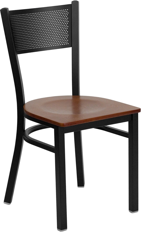 Flash Furniture HERCULES Series Black Grid Back Metal Restaurant Chair with Cherry Wood Seat [XU-DG-60115-GRD-CHYW-GG]