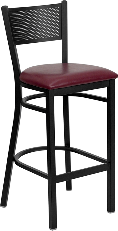 Flash Furniture HERCULES Series Black Grid Back Metal Restaurant Bar Stool with Burgundy Vinyl Seat [XU-DG-60116-GRD-BAR-BURV-GG]