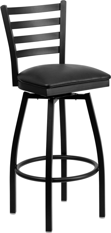Flash Furniture HERCULES Series Black Ladder Back Swivel Metal Bar Stool - Black Vinyl Seat [XU-6F8B-LADSWVL-BLKV-GG]