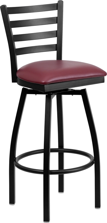 Flash Furniture HERCULES Series Black Ladder Back Swivel Metal Bar Stool - Burgundy Vinyl Seat [XU-6F8B-LADSWVL-BURV-GG]