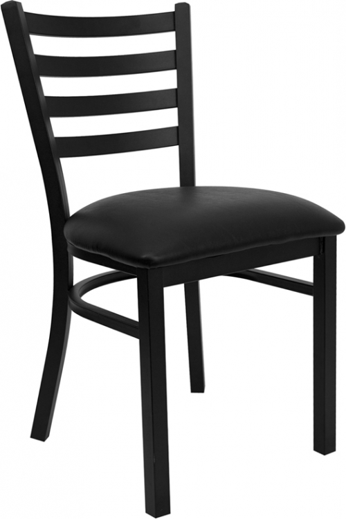 Flash Furniture HERCULES Series Black Ladder Back Metal Restaurant Chair with Black Vinyl Seat [XU-DG694BLAD-BLKV-GG]