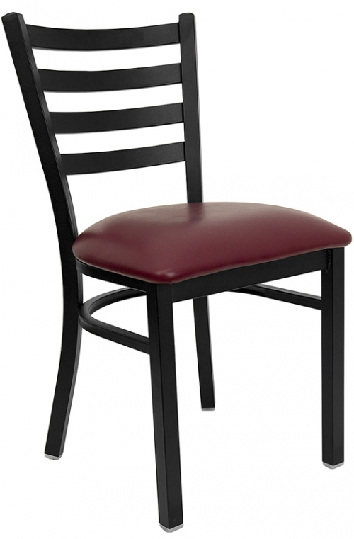 Flash Furniture HERCULES Series Black Ladder Back Metal Restaurant Chair with Burgundy Vinyl Seat [XU-DG694BLAD-BURV-GG]