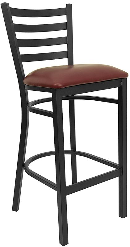 Flash Furniture HERCULES Series Black Ladder Back Metal Restaurant Bar Stool with Burgundy Vinyl Seat [XU-DG697BLAD-BAR-BURV-GG]