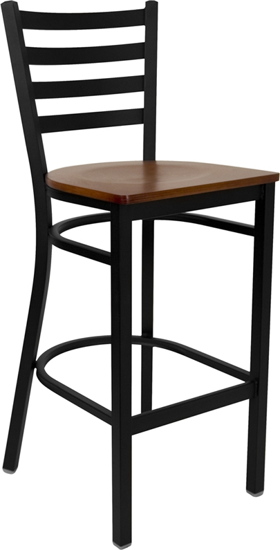 Flash Furniture HERCULES Series Black Ladder Back Metal Restaurant Bar Stool with Cherry Wood Seat [XU-DG697BLAD-BAR-CHYW-GG]