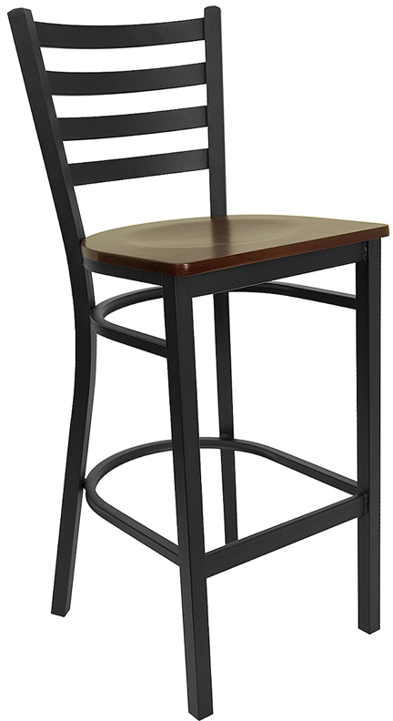 Flash Furniture HERCULES Series Black Ladder Back Metal Restaurant Bar Stool with Mahogany Wood Seat [XU-DG697BLAD-BAR-MAHW-GG]