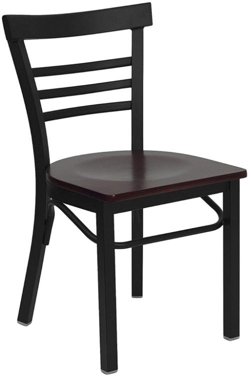 Flash Furniture HERCULES Series Black Ladder Back Metal Restaurant Chair with Mahogany Wood Seat [XU-DG6Q6B1LAD-MAHW-GG]