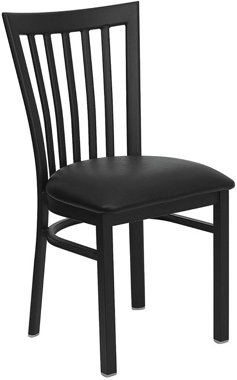 Flash Furniture HERCULES Series Black School House Back Metal Restaurant Chair with Black Vinyl Seat [XU-DG6Q4BSCH-BLKV-GG]