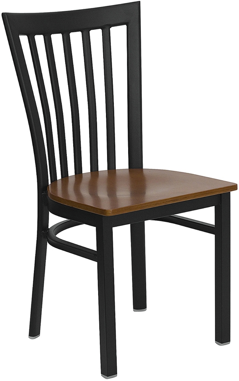 Flash Furniture HERCULES Series Black School House Back Metal Restaurant Chair with Cherry Wood Seat [XU-DG6Q4BSCH-CHYW-GG]
