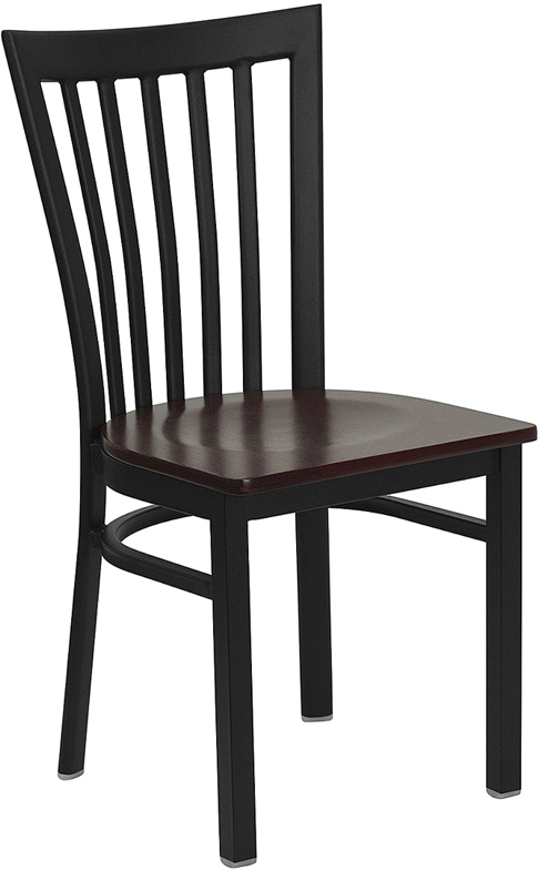 Flash Furniture HERCULES Series Black School House Back Metal Restaurant Chair with Mahogany Wood Seat [XU-DG6Q4BSCH-MAHW-GG]