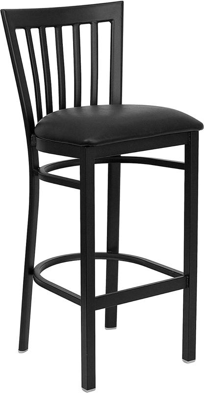 Flash Furniture HERCULES Series Black School House Back Metal Restaurant Bar Stool with Black Vinyl Seat [XU-DG6R8BSCH-BAR-BLKV-GG]