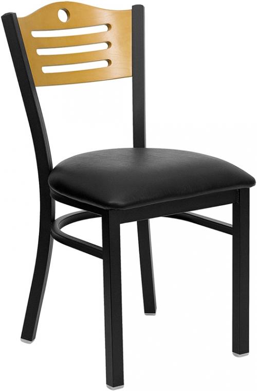 Flash Furniture HERCULES Series Black Slat Back Metal Restaurant Chair with Natural Wood Back & Black Vinyl Seat [XU-DG-6G7B-SLAT-BLKV-GG]