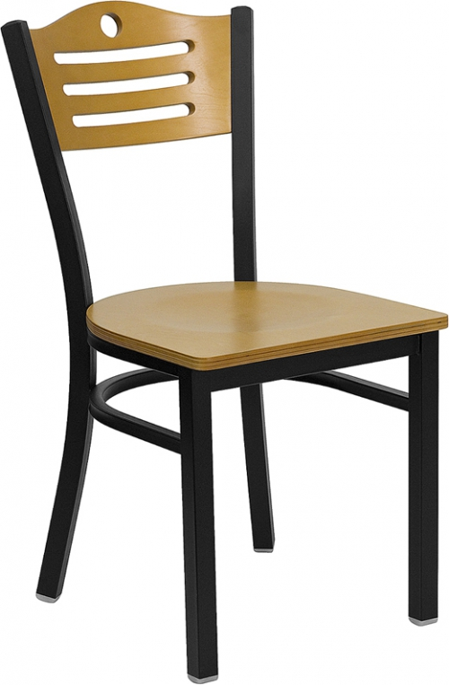 Flash Furniture HERCULES Series Black Slat Back Metal Restaurant Chair with Natural Wood Back & Seat [XU-DG-6G7B-SLAT-NATW-GG]