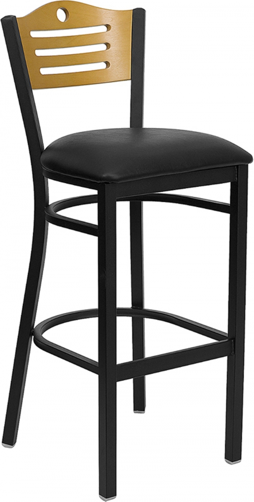 Flash Furniture HERCULES Series Black Slat Back Metal Restaurant Bar Stool with Natural Wood Back & Black Vinyl Seat [XU-DG-6H3B-SLAT-BAR-BLKV-GG]
