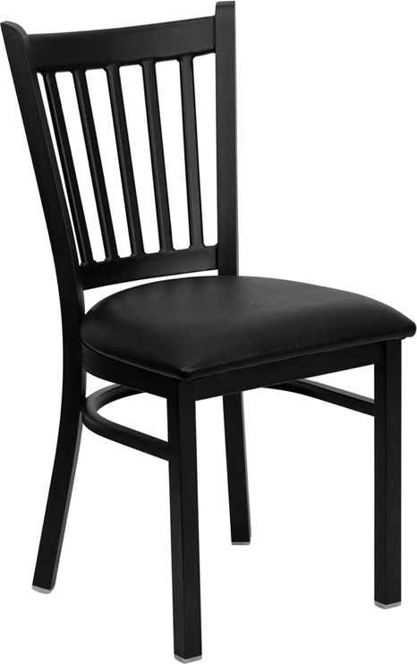 Flash Furniture HERCULES Series Black Vertical Back Metal Restaurant Chair with Black Vinyl Seat [XU-DG-6Q2B-VRT-BLKV-GG]
